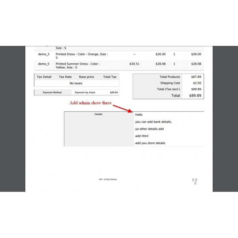 Customer PDF Invoice Extra Content add Module  PrestaShop