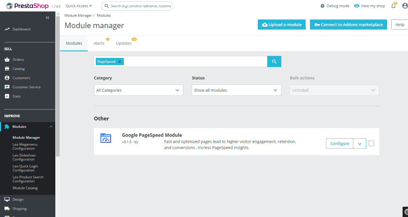 Google PageSpeed Insight Module PrestaShop