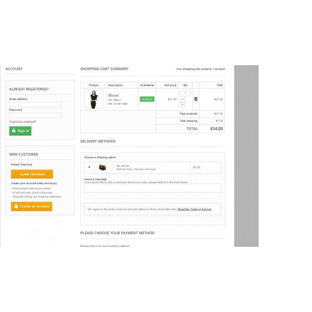 One Step Checkout Module Prestashop